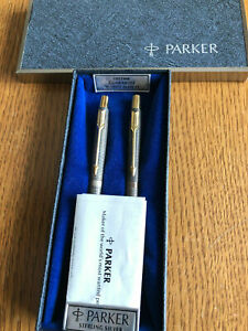 Parker 75 Classic  Set Sterling Silver Ballpoint Pen &  0.9mm Pencil New In Box