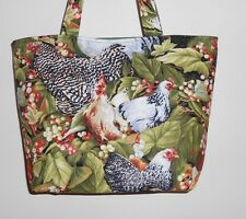 Handmade Variety of Chickens Tote Purse Bag