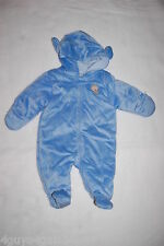 Baby Boys BLUE SNOWSUIT Soft Fleece Pram EMBROID MONKEY Hooded ZIP FRONT 0-3 MO