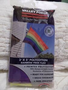 VALLEY FORGE Rainbow Pride Flag (3' x 5') NEW IN THE PLASTIC (Gay Pride)