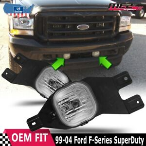 Fits 99-04 Ford F-Series Clear Lens PAIR Bumper Fog Light Lamps Replacement