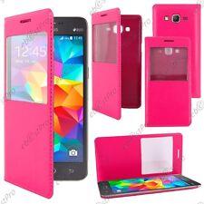 Housse Coque Etui S-View Flip Cover Rose Samsung Galaxy Grand Prime G530F G530FZ