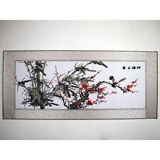 """Stickbild Stoffbild """"Bambus und Pflaumenblüte"""" chinesische Stickerei, Stickkunst"""