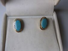 VINTAGE 14K YELLOW GOLD EARRINGS:NATURAL PERSIAN TURQUOISE & DIAMONDS