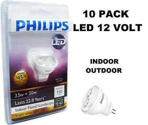 10 Philips MR11 LED Light Bulb Bright White Indoor/Outdoor Flood 20W Landscape