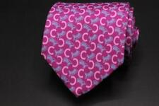 "CELINE PARIS Silk Tie. Purple w Pink ""C"" & Horse Carriage Design. 62"" x 3.625"""