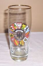 ~~ BUDWEISER ~~ BUSCH GARDENS GERMAN CREST BEER GLASS WITH GILD RIM