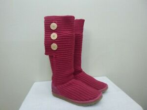 UGG CLASSIC CARDY 7 38 Pink Knit Tall Button Sheepskin Shearling Fur Winter Boot