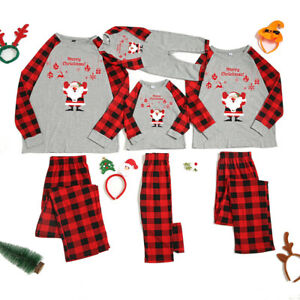 Christmas Parent-child Printed Round Neck Long-sleeved Trousers Pjs Sleepwear ~