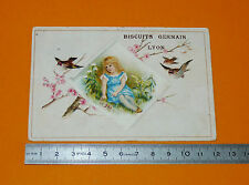 CHROMO 1890-1905 BISCUITS GERMAIN LYON FILLETTE OISEAUX