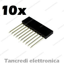 10x Connettori Strip Line Femmina 10 poli 10x1 - Header Socket Female arduino