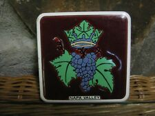 "Vintage 3 1/2"" Square Ceramic Art Tile Napa Valley Crown Grape Cluster Leaves"