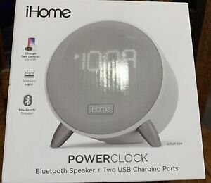 NEW iHome Bluetooth Alarm Clock with 2 USB Charging Slots Free Shipping!