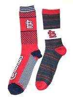 St. Louis Cardinals Two Pack Crew Socks Red Navy Stripe Dots/ Gray Red Stripes