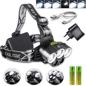 Super Hell 100000LM CREE LED stirnlampe USB SCHEINWERFER Kopflampe TASCHENLAMPE
