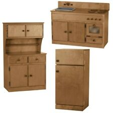 3 PIECE KITCHEN PLAY SET -  Amish Handmade Wood Toy Furniture USA, NATURAL