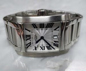 Rotary Stainless Steel Men's Quartz Wristwatch/ Date Window ~ SS-2007