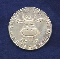 Italy 1966 Silver Medal/Token BIRAGHI - PRODOTTI DEL LATTE, Smiling Cow on Obv.