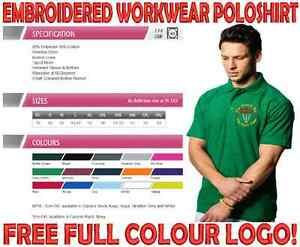 PERSONALISED UNIFORM WORKWEAR POLOSHIRT. FULL COLOUR EMBROIDERED LOGO INCLUDED!