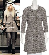 CHANEL 13B Grey Brow Chain Trimming Tweed Coat Dress F38