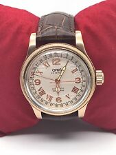 VINTAGE ORIS POINTER ROSE GOLD AUTOMATIC BIG CROWN 25 JEWELS MAN,S WHITE DIAL