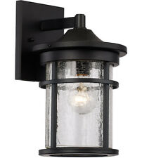 Trans Globe Lighting Black Outdoor Wall Mount Lantern Crackel Look Glass New