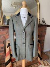 Ladies Shires Huntingdon Green/Turquoise/Olive Overcheck Tweed Show Jacket 36/12