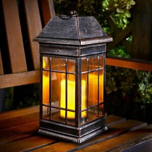Large Bronze Effect Solar Powered LED Table Lantern Outdoor Hanging Garden Light