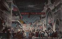 Postcard Bowery By Night Coney Island NY