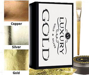 300 sheets  new gold silver copper leaf starter kit  7cm x 5cm  glue brush
