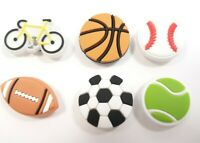 6 New Crocs Shoe Charms Jibbitz Sports Football Baseball Basketball Bicycle K4