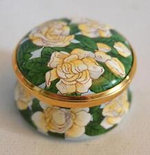 Halcyon Days English Enamels White Rose Trinket Box