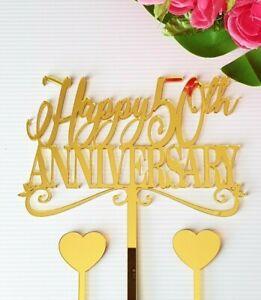 Happy Anniversary Acrylic Mirror Cake Topper MADE IN AUSTRALIA 50th 25th etc