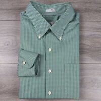Peter Millar Size XL Button Front Crown Finish Green White Plaid Check Shirt