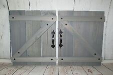 Handcrafted Wood Mini Barn Doors/Shutters Wall Decor with Black Accent Handles