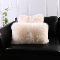 "12X20""Rectangle Ivory Sheepskin Pillow 30x50cm Sofa Cushion Cover Fur pillowcase"