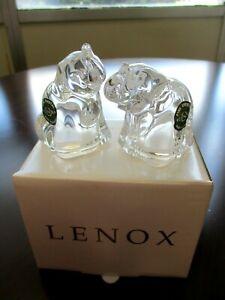 Lenox Crystal Elephant Salt & Pepper Shakers 083473 New In Box