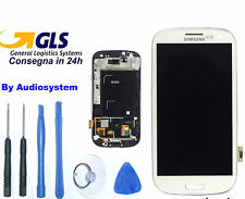 GLS DISPLAY+TOUCH SCREEN per SAMSUNG GALAXY S3 i9300 BIANCO AMOLED+COVER FRAME