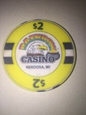 RAINBOW CASINO NEKOOSA WI Casino CHIP $2.00 Eagle Pot Of Gold Obsolete 2 Dollars