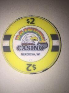 RAINBOW CASINO NEKOOSA WI Casino CHIP $2.00 Eagle Pot Of Gold Obsolete 2 Dollars