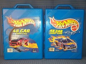 Lot of Two - Hot Wheels 48 Car Carry Case - Mattel #20020 Blue, 1999, 2001, Used