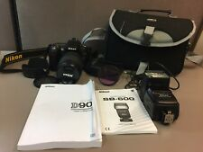 Nikon D90 12.3 MP Digital SLR Camera DX VR Zoom Nikkor18-105mm Lens + Extras