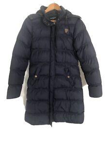 Brave Soul Full Length Puffer Jacket Size 12 Navy