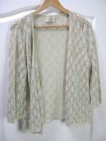 Peruvian SPIRIT OF THE ANDES Beige Crochet Cardigan Hand Knitted Peru - Medium