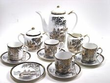 Japanese Kutani China Tea Set Demitasse Tea Pot Sugar Creamer Cups Saucers