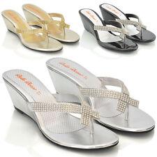 Womens Wedge Heel Flip Flops Sandals Diamante Sparkly Ladies Toe Post Shoes 3-9