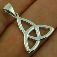 CELTIC TRINITY KNOT SILVER PENDANT, PLAIN SOLID STERLING SILVER, pn94/7