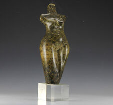 Abstract Stone Sculpture Nude Figure on clear acrylic base - Spotted Jasper