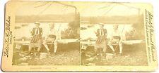 STEREOFOTO STEREOVIEW PHOTO 1894 - COPPIA DI PESCATORI - BY LITTLETON VIEW CO.
