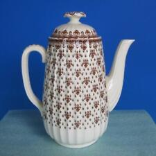 Copeland Spode China - Brown Fleur De Lis - Coffee Pot, Creamer, Sugar Bowl